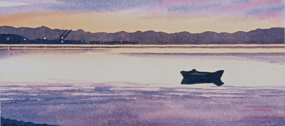 Port Nelson Sunset  (2014). Watercolour on paper 110mm x 240mm