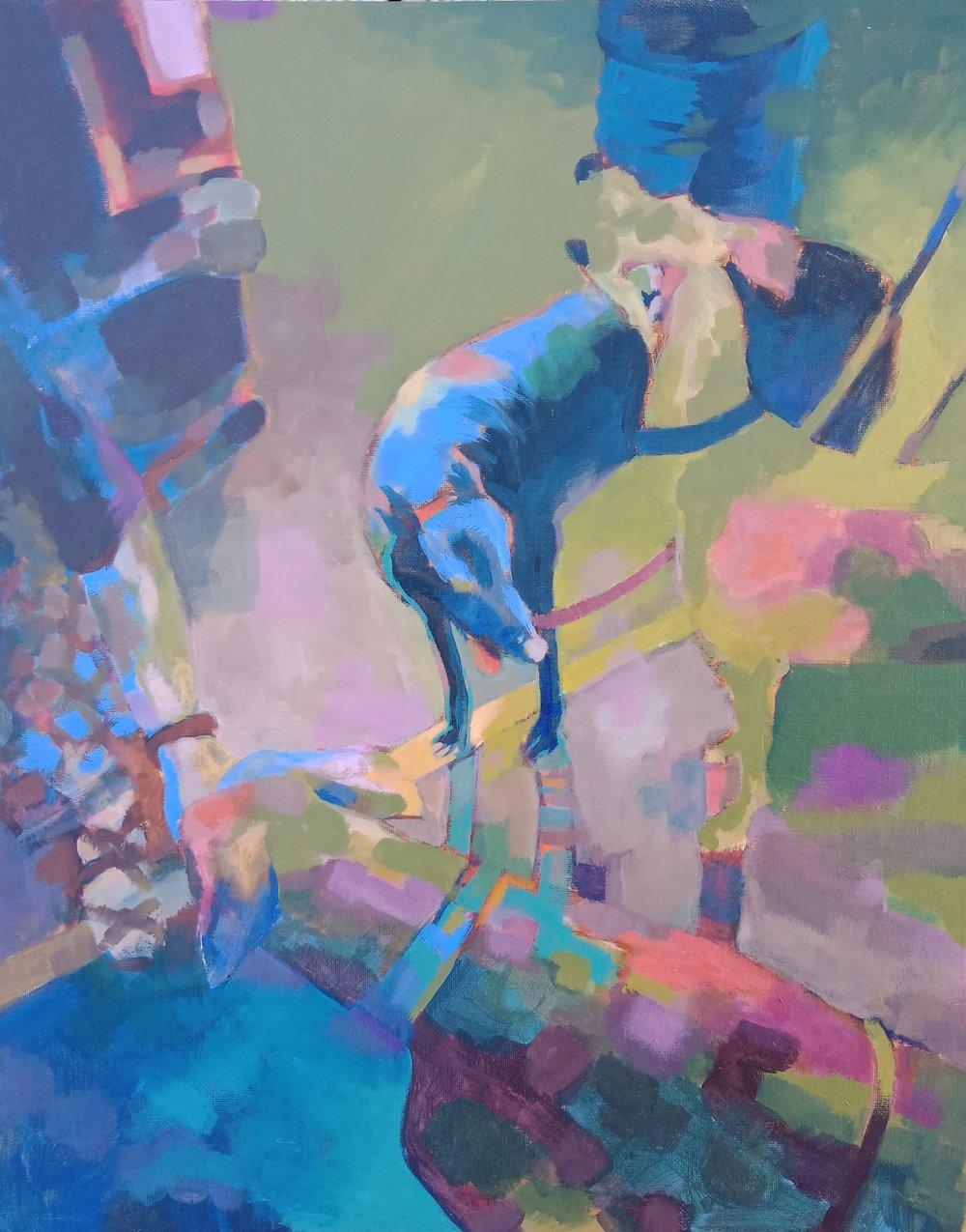Greyhound Meet.  (2018). Acrylic on panel 500mm x 400mm