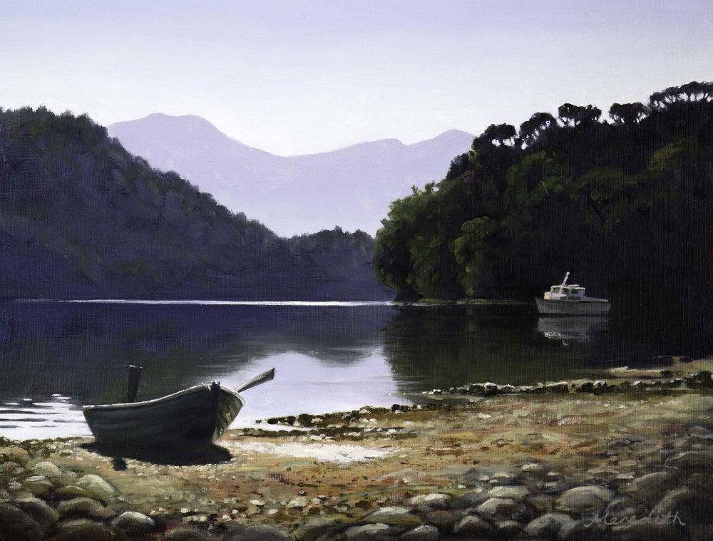 Broughton Bay, Marlborough  (2018). Oil on panel (framed) 400mm x 300mm