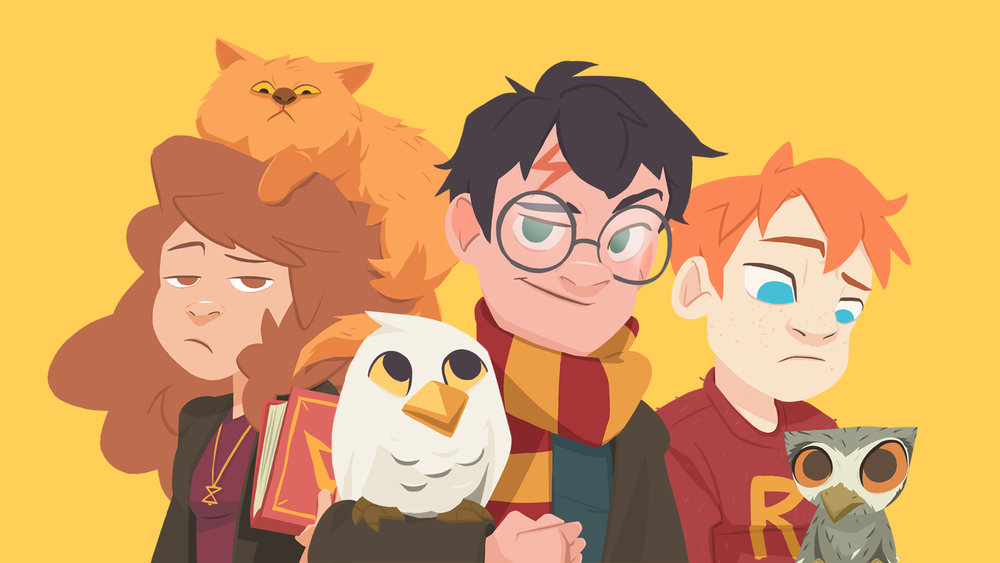 Starting the journey with our beloved characters, the Golden Trio. Crookshanks, Hedwig, and Pigwidgeon will be later in the challenge though.