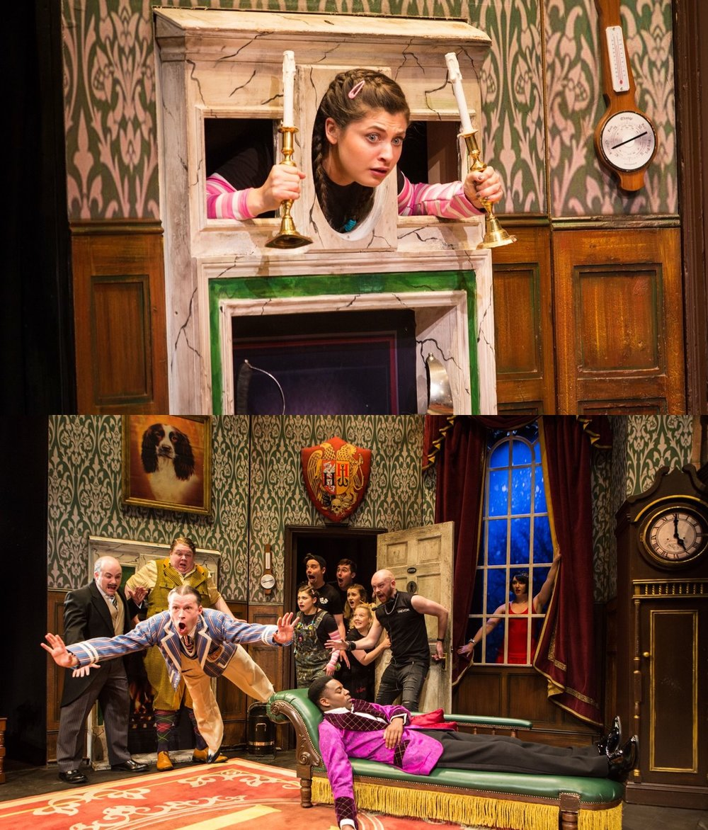 KATIE BERNSTEIN AND ALASTAIR KIRTON IN THE PLAY THAT GOES WRONG - Katie and Alastair performed in The Play That Goes Wrong, at The Duchess Theatre, West End.