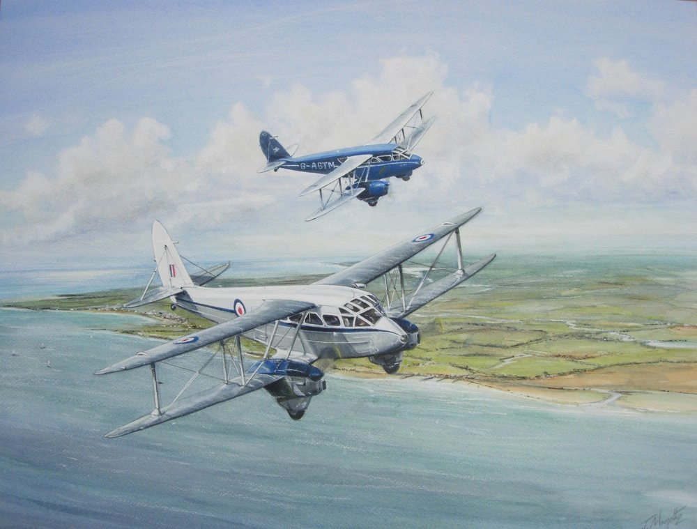 DH Dragon Rapide Formation painted in watercolours.jpg