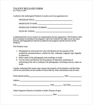 Talent Release Form Template | Store Learn Documentary
