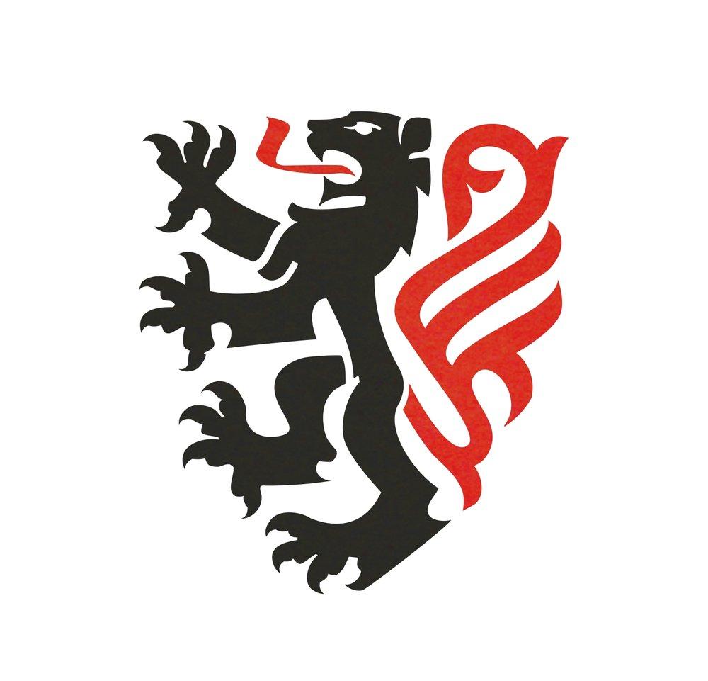 Lion logo heraldic crest.   Logotip s prikazom heraldičkog lava.