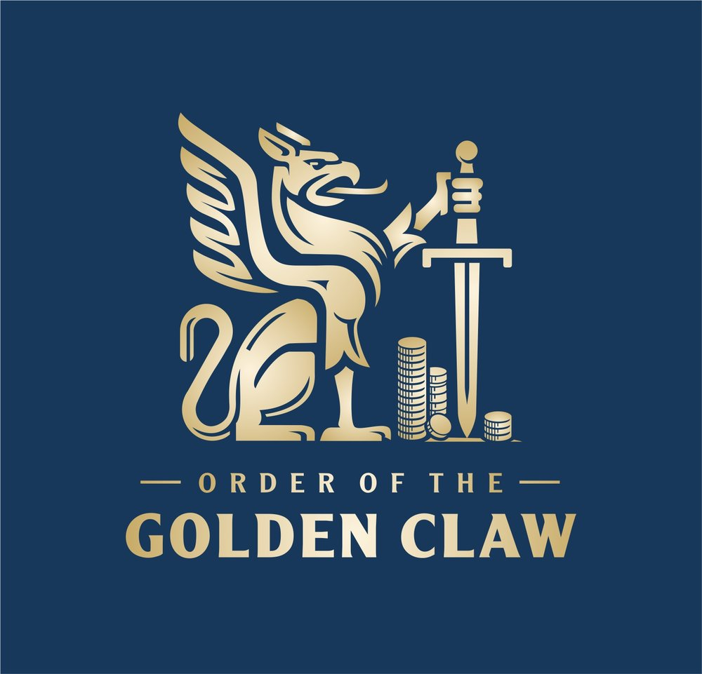 Gold griffin heraldic logo.   Logotip s prikazom grifona.