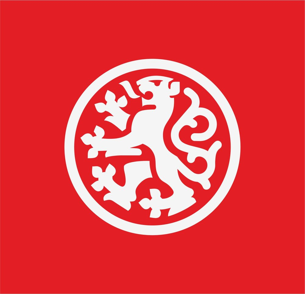 Heraldic lion logo in the circle.   Logotip s prikazom heraldičkog lava u kružnom obliku.