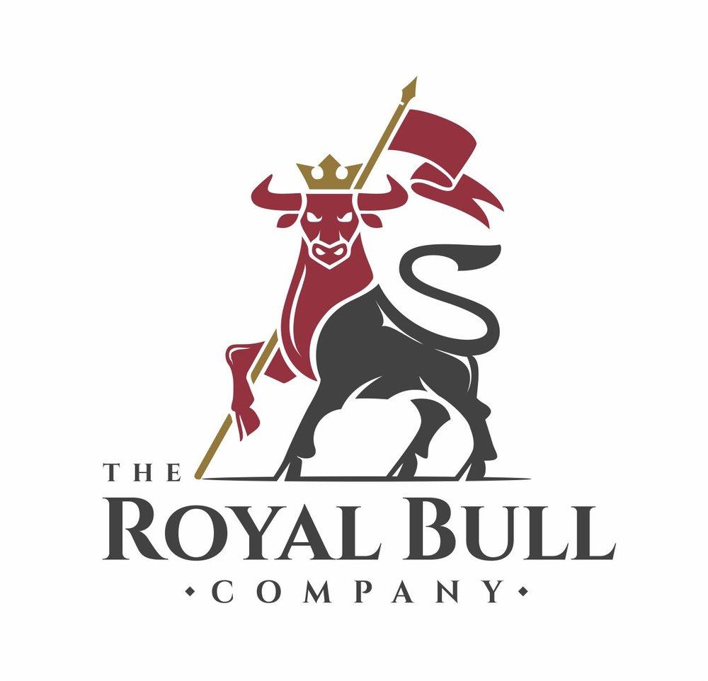 Bull logo holding a flag.   Logotip s prikazom bika koji drži zastavu.