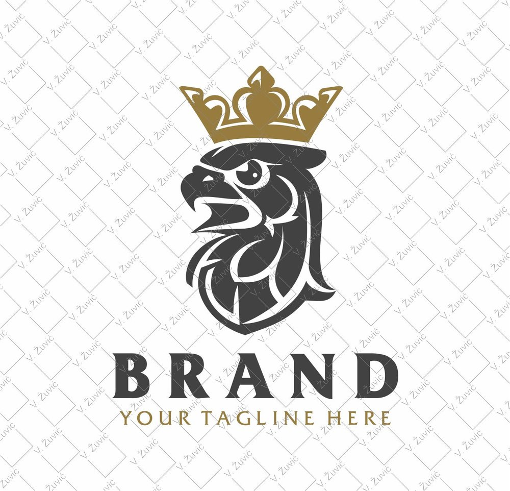 Logotip is available for sale. Crowned falcon head logo design.   Logotip je dostupan za prodaju. Dizajn logotipa s motivom okrunjene glave sokola.