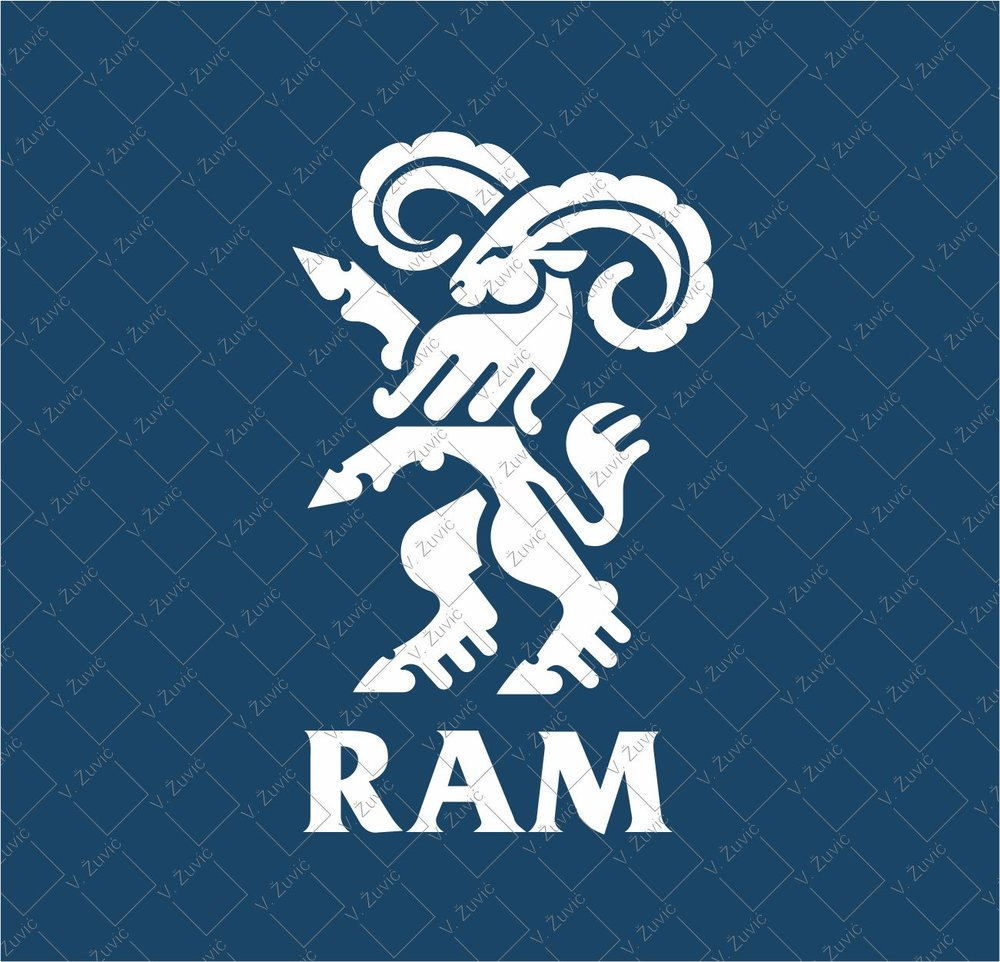Logo is available for sale. Logo design - ram.   Logotip je dostupan za prodaju. Dizajn logotipa - ovan.