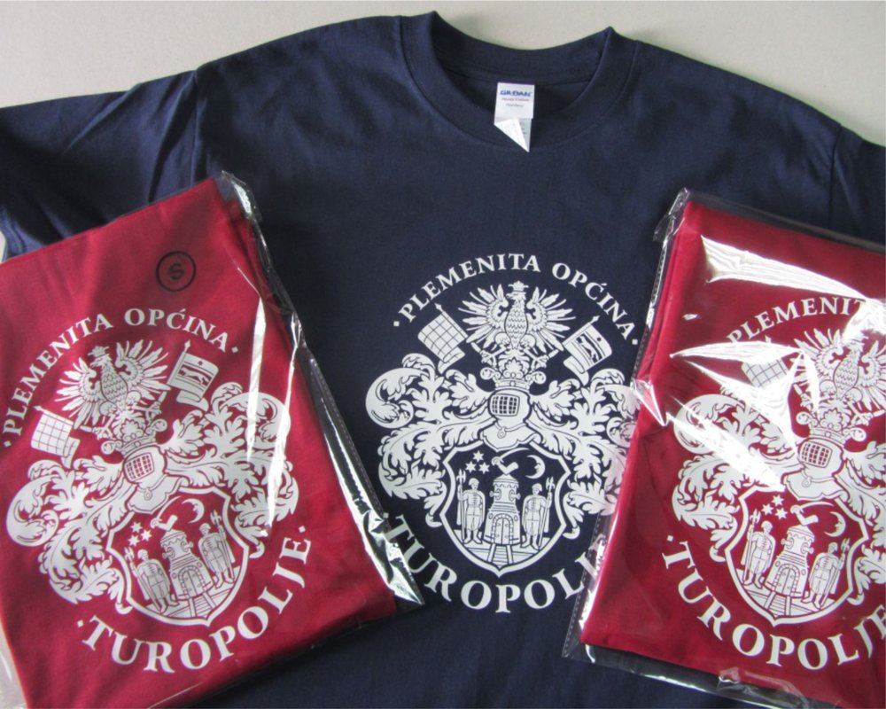Design and production of T-shirts with your logo/crest on it.   Dizajn i izrada majica s Vašim logotipom ili grbom.