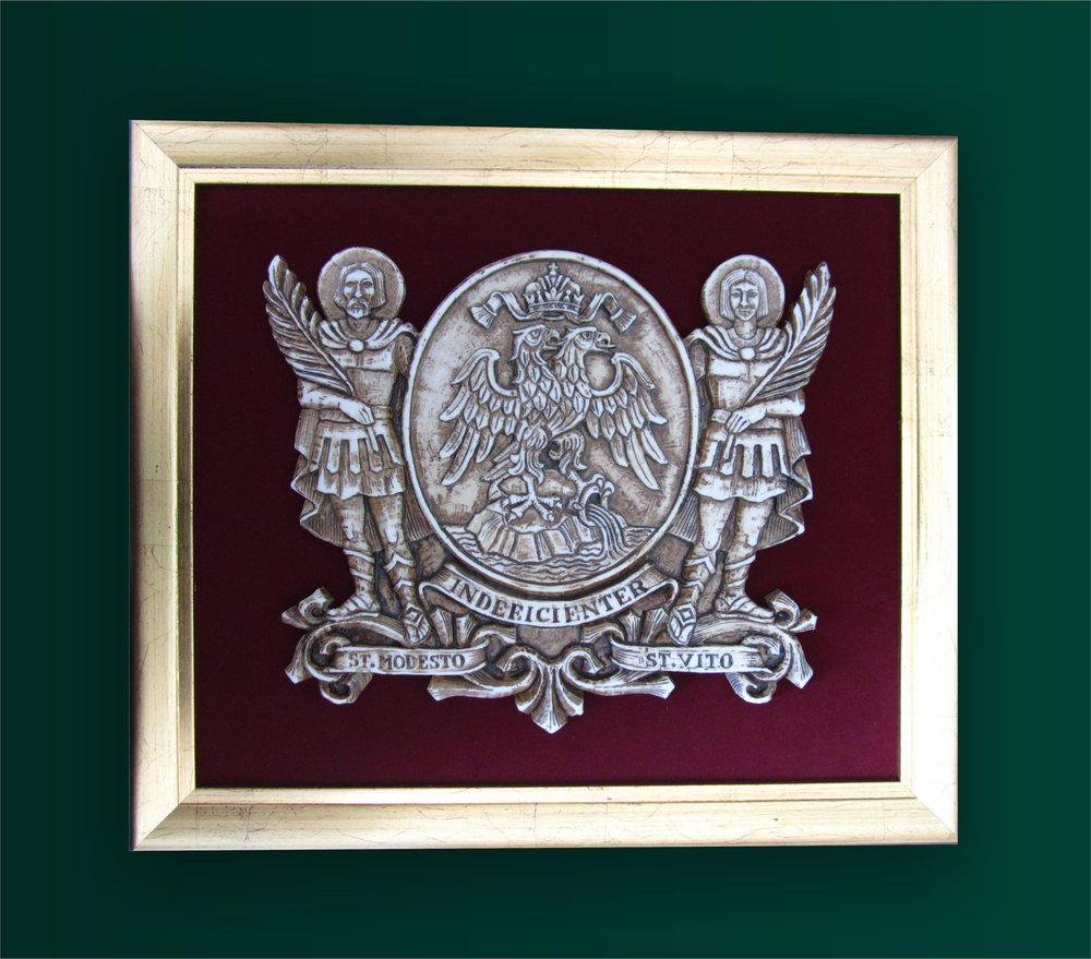 Framed relief with the coat of arms of the Rijeka city.   Uokvireni reljef s grbom Grada Rijeke.