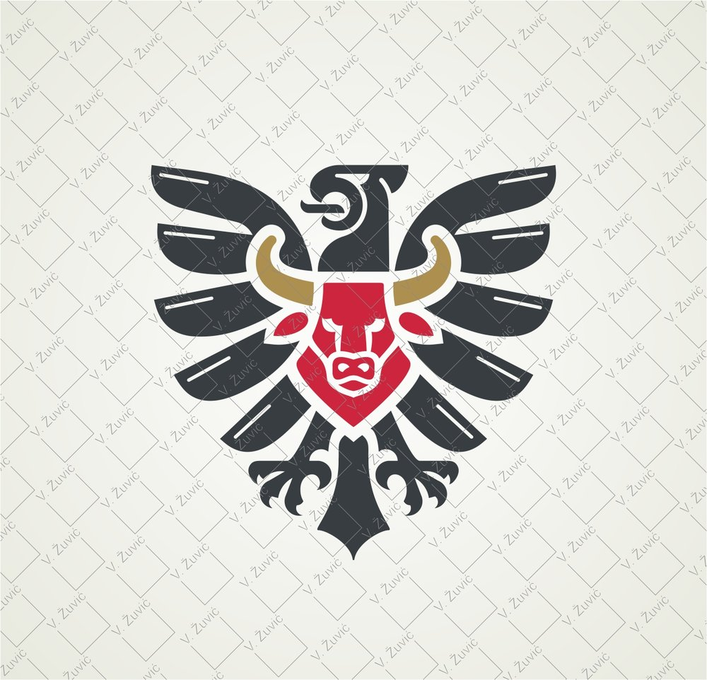 Logo is available for sale. Eagle and bull logo design.   Logotip je dostupan za prodaju. Dizajn logotipa - bik i orao.