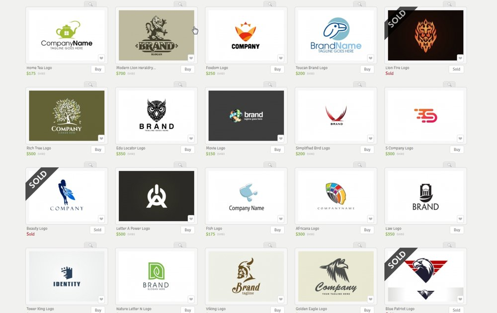 Logos for sale on the Logoground site.