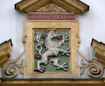 Styrian panther on fassade in Graz. Source: https://commons.wikimedia.org/wiki/File:Graz_Zeughaus_Portal_Wappen_Panther.jpg Photo by: Andreas Praefcke