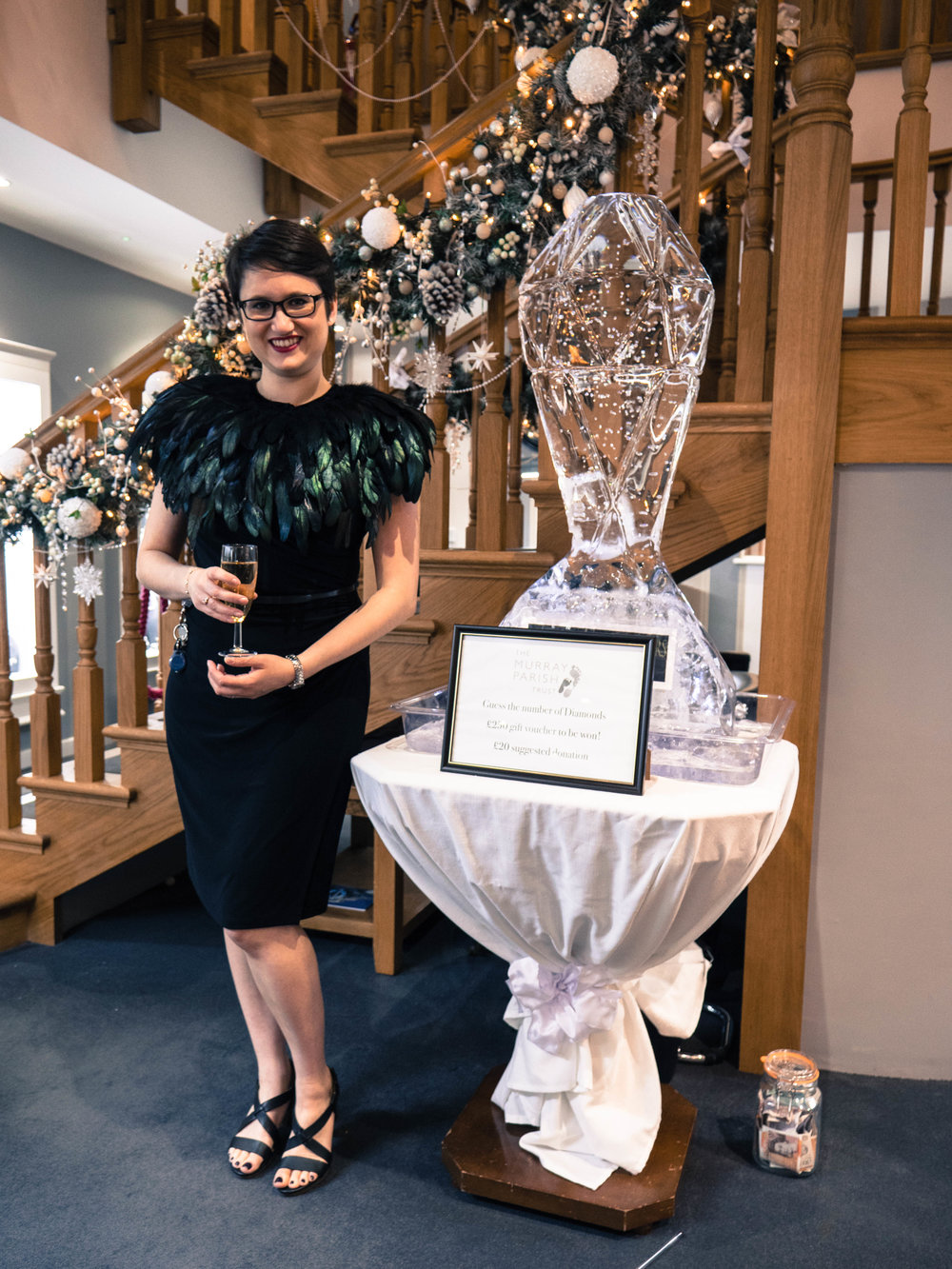 Harriet France with ice sculpture.JPG