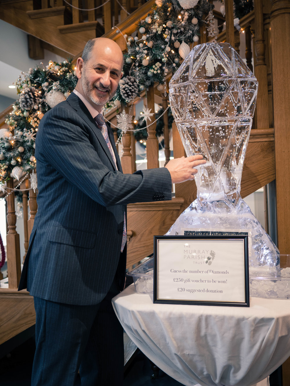 Jeremy France with ice sculpture.JPG