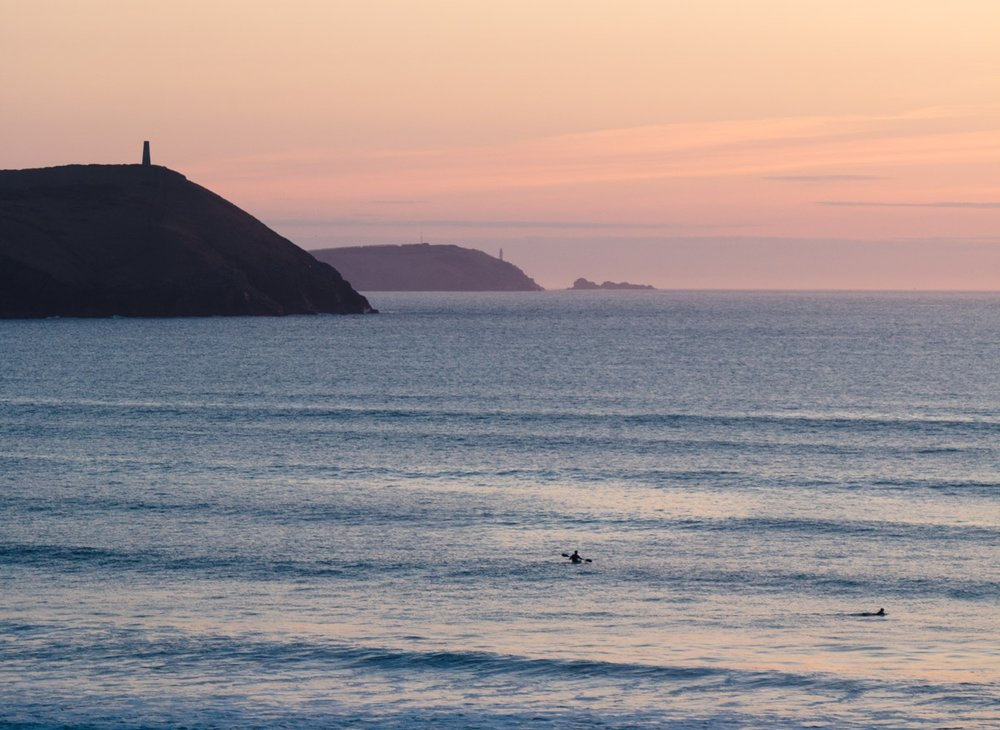 Sunset over Polzeath Beach