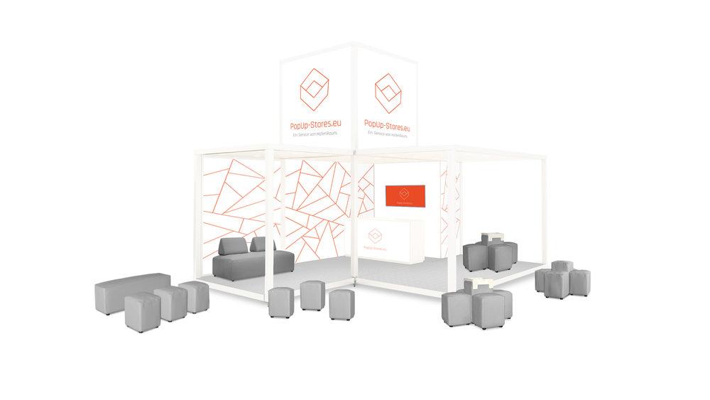 Beispiel Store und erweiterte Promotionfläche   Die Storefläche ist mit einer Promotionfläche im Freien erweiterbar. Auf Wunsch mit unserer Lounge Kollektion als Verweilmöglichkeit mit der Marke.