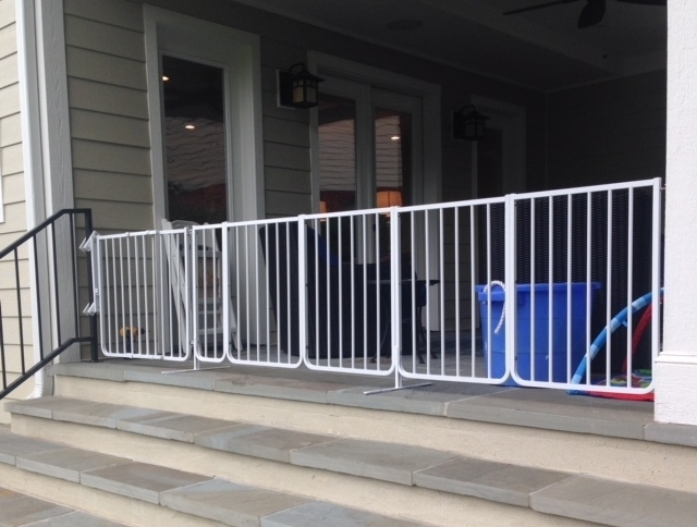 Creating Safer Play Areas - Baby Proofing Montgomery converted a covered patio that was adjacent to flagstone steps into safer play area.