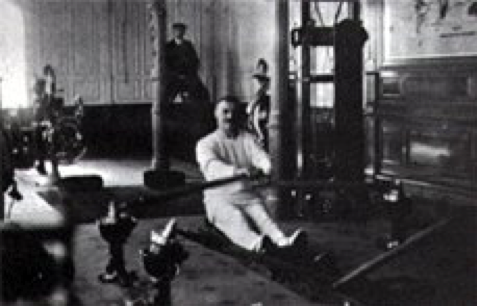 The  Titanic  gymnasium and rowing machine. (credit:  http://www.ultimatetitanic.com/interior-fittings/ )