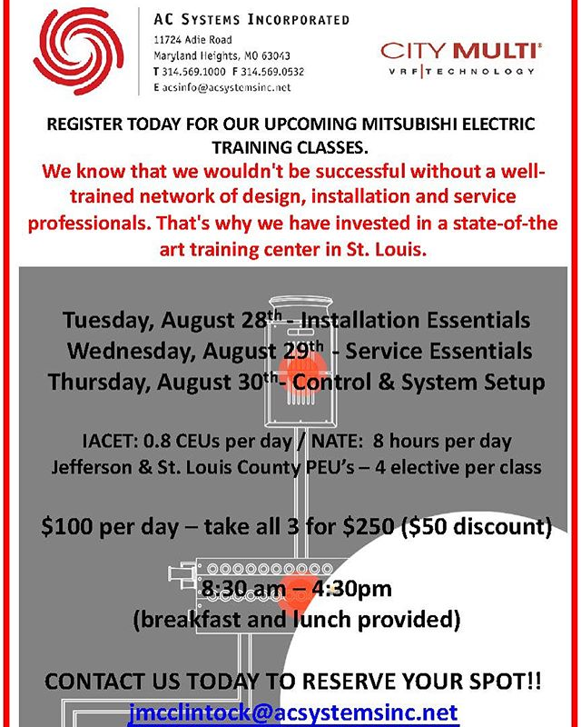 Join us for our Mitsubishi Electric training classes held August 28th-30th! You will learn how to install, service, and troubleshoot Mitsubishi VRF systems #mitsubishi #hvac #vrf