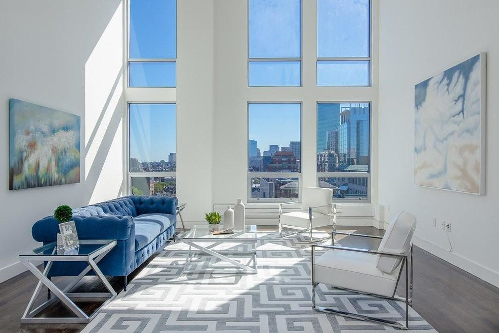 360 NEWBURY STREET #806 - 2 bed, 2 baths, 2062 sq/ftPrice: $1,975,000Castle in the Sky! Captivating palace perched eight soaring stories above Newbury St. Make yours this sleek, bright, towering loft penthouse in a Gehry-designed, 2006-restored masterpiece. Entertain guests with the city literally at your feet. Pamper yourself in the spa-like master bath. Retreat to your cocoon-like back bedroom for the best sleep of your life.
