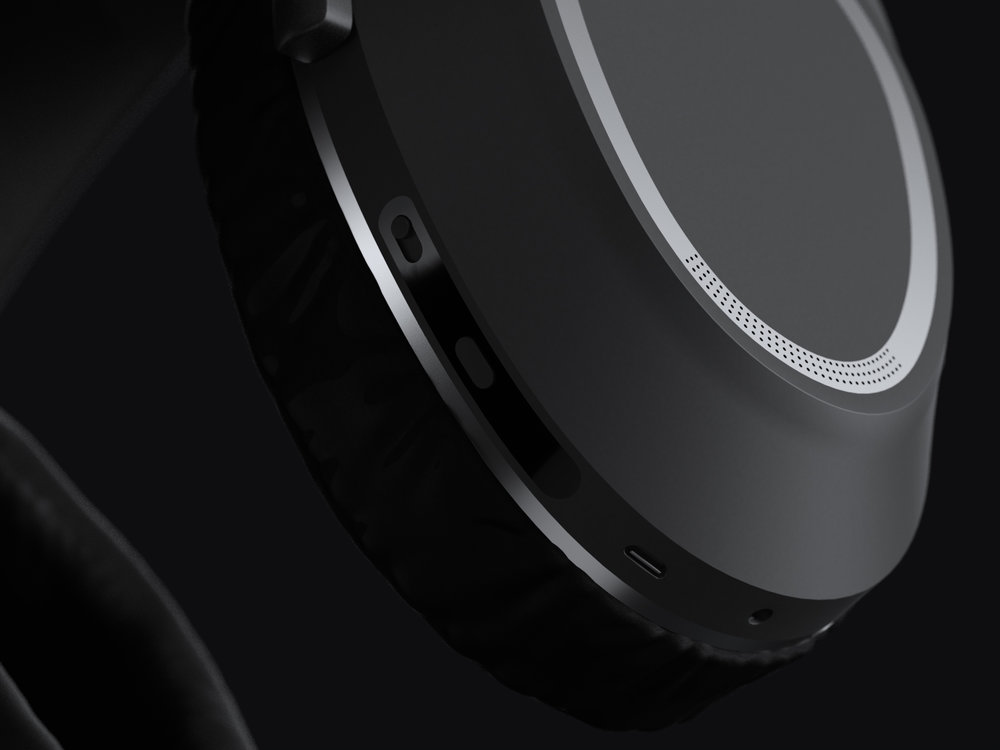 Details of the ports on the headphones