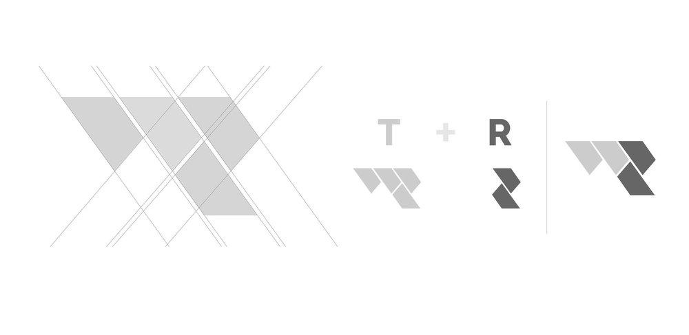 ↑ Fig. 2  Schema di costrizione del  Monogramma   T  +  R.  Il design prende ispirazione dalla  posa a spina Ungherese .