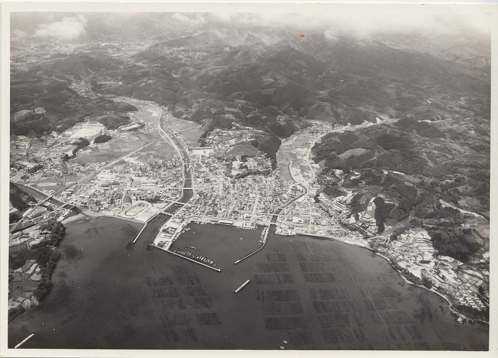 Aerial photo of Minami Sanriku taken circa 1970. (Provided by Yumi Sato)