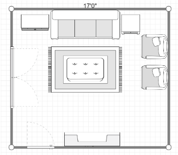 Floor plan with small rug
