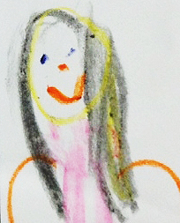 Portrait of Laura Huliska Beith by an adorable first grader during a school visit.