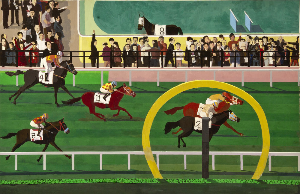 Happy Valley Horse Race, casein on paper, 30 x 42 inches, 4,500.00 .jpg