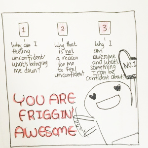 The You are Friggin' Awesome: Confidence Boost Spread - Pitch by Lisa Mulloy1-Why am I feeling unconfident/what's bringing me down?2-Why that is NOT a reason for me to feel unconfident3-Why I am awesome and what's something I can be confident about?