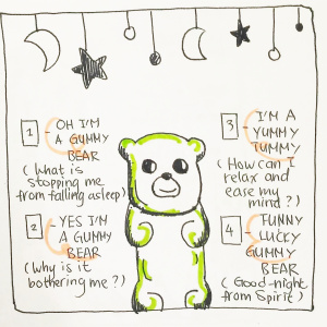 Gummy Bear Goodnight Spread - Pitch by Lauriane Seon1-Oh I'm a gummy bear: What is stopping me from falling asleep?2-Yes I'm a gummy bear: Why is it bothering me?3-I'm a yummy tummy: How can I relax and ease my mind?4-Funny lucky gummy bear: Good-night from Spirit