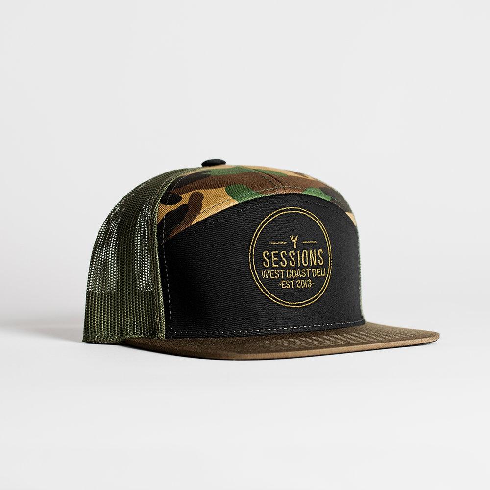7-Panel Trucker Logo Hat (Camo) — Sessions West Coast Deli e60b309857f