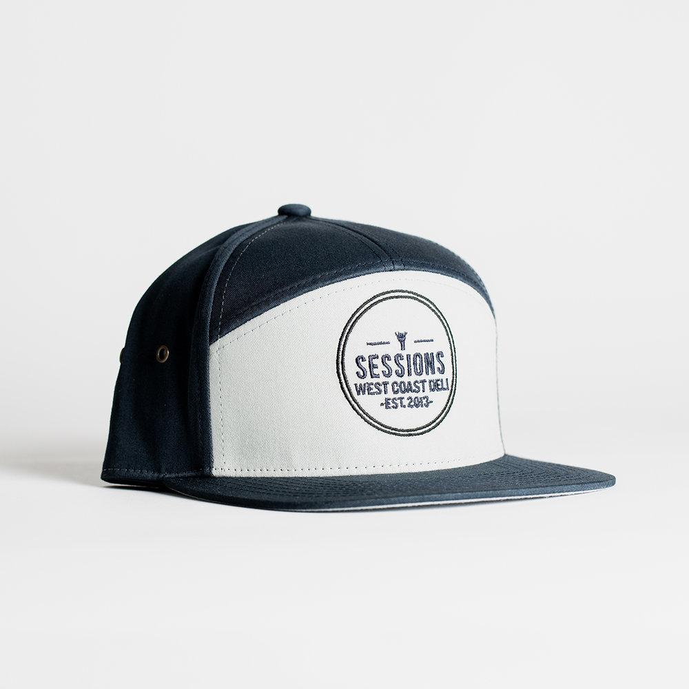 7-Panel Trucker Logo Hat (Navy) — Sessions West Coast Deli 8462dd7101a