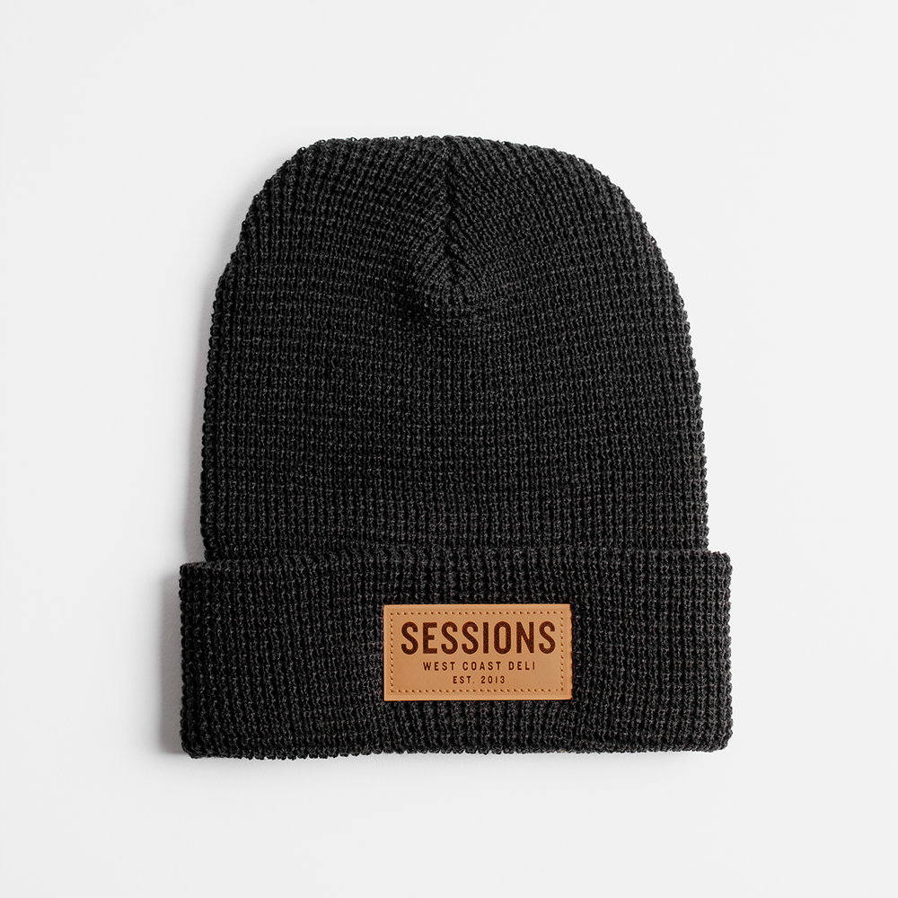 Waffle Beanie (Black) — Sessions West Coast Deli 039225e2a0e