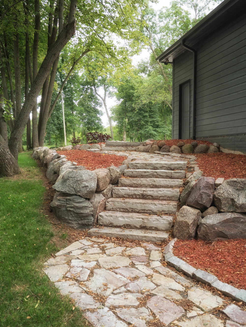 Stone steps with path