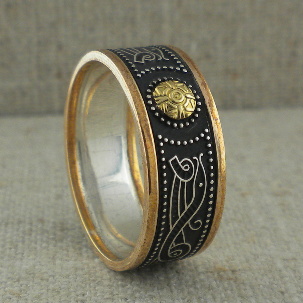 Celtic Warrior Shield Wedding Ring with 18K Bead & Gold Trim