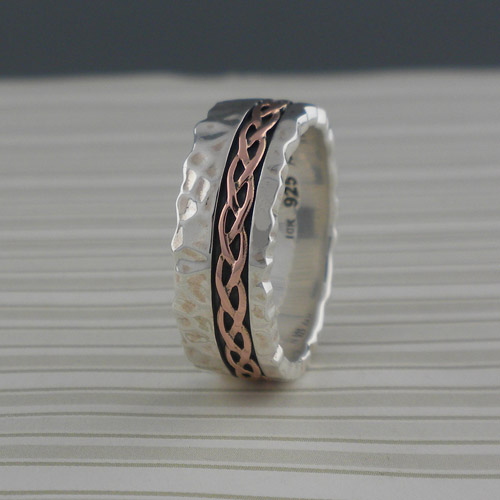 Celtic Weave Wedding Ring with Hammered Finish