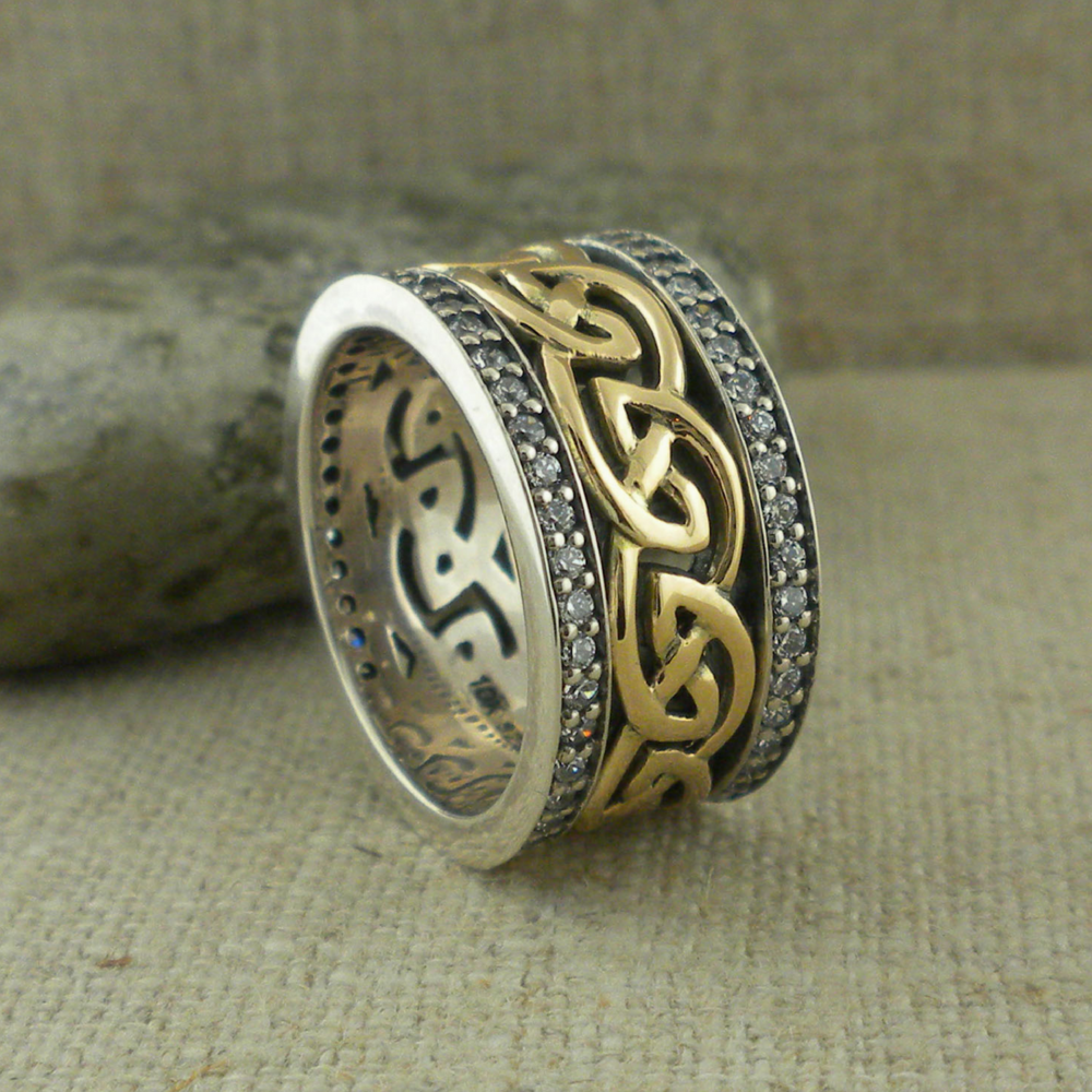Celtic Knot Wedding Ring with CZ Trim
