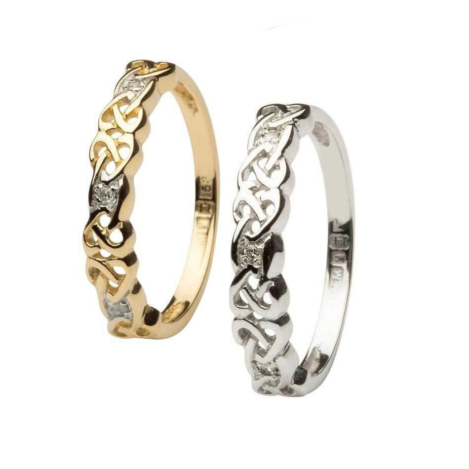 Narrow Celtic Knot Wedding Ring with Diamonds