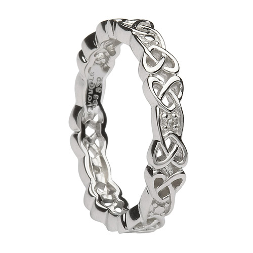 Sterling Celtic Wedding Ring with Diamonds