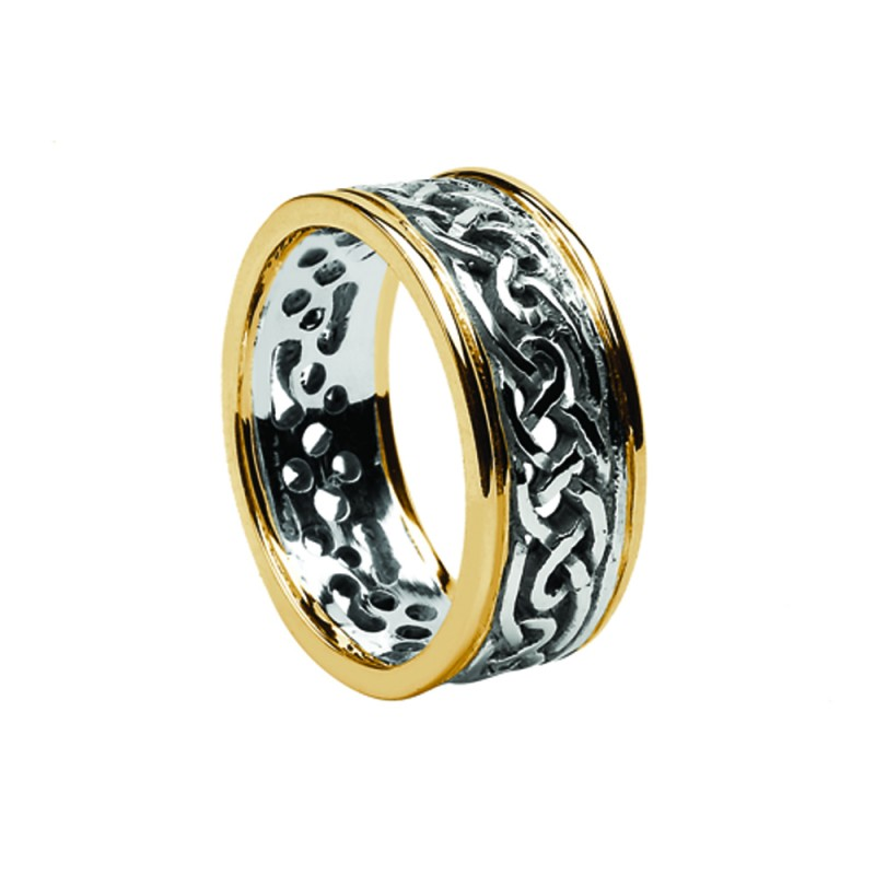 Ladies Wide Celtic Knot Wedding Ring with 10K Trim