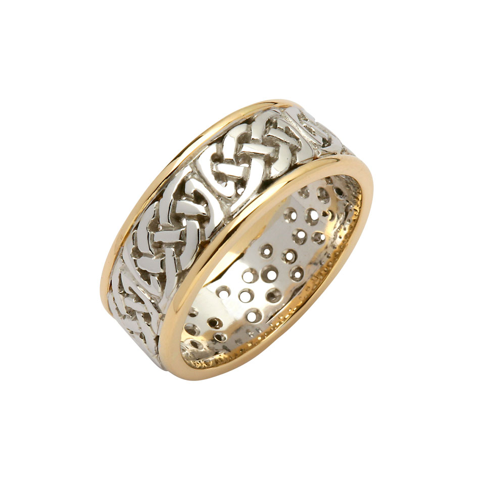 Sterling Silver 8.6 Celtic Knot Wedding Ring with 10K Trim