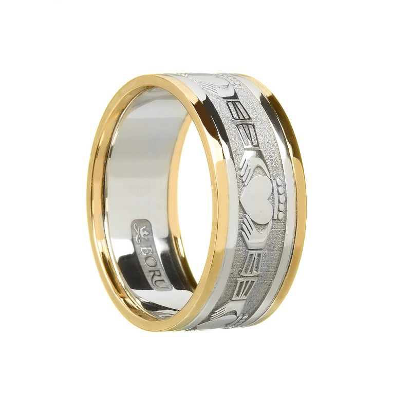 Men's Claddagh Wedding Ring with 10K Trim