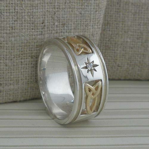 Wide Trinity Knot Wedding Ring