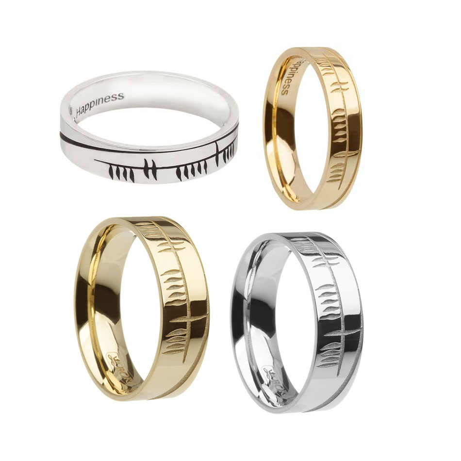 Ogham Sonas Wedding Ring