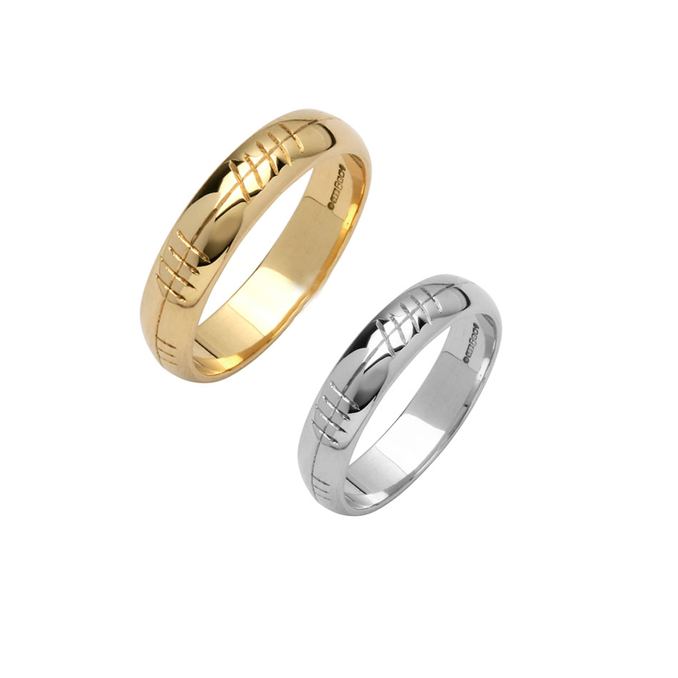 Men's Custom Ogham Wedding Ring