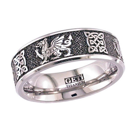 Welsh Dragon & Celtic Knot Wedding Ring